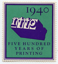 W.A. Dwiggins Poster Stamp-500 years-Printing from Moveable Type-MNH