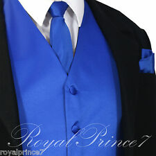 ROYAL Solid Tuxedo Suit Vest Waistcoat and Neck tie Hanky Set Prom Wedding Party