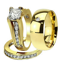 His Hers 3 Piece Mens Womens 14k Gold Plated  Engagement Wedding Ring Band Set