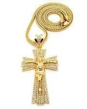 """Iced Out JESUS CRUCIFIED CROSS Pendant w/4mm 36"""" Franco Chain Necklace FXP417"""