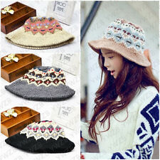 Vogue Ladies Winter Warm Crochet Knitted Wool Joker Hat Ski Bucket Jacquard Caps