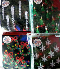 CHRISTMAS TREE BEAD DECORATION PACKS TREE, WREATH, ICICLE, SNOWFLAKE