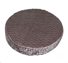 mp03r Lt. Silver Brown Folds Shimmer Velvet Style 3D Round Seat Cushion Cover