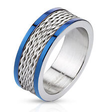 316L Stainless Steel Men's Wire with Blue Edges Band Ring Sz 9-13