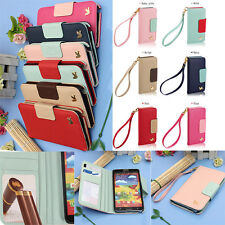 Wallet Card Slot Holder Flip Leather Mirror Case Cover For Samsung Phone + Strap