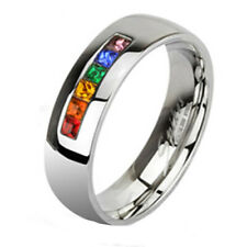 316L Stainless Steel Princess Cut Rainbow 0.50 Carat CZ Band Ring Size 5-13