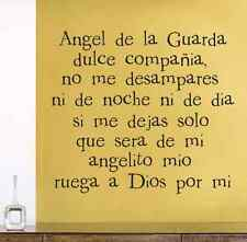 Angel de la guarda Spanish vinyl wall decal home children room decor sticker