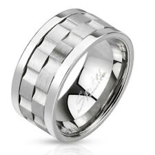 Stainless Steel Men's Gear Design Center Double Spinning Band Ring Size 9-14