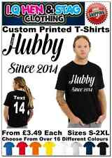 Proud Hubby Since 2014 Mens T Shirt Wedding Husband Hen Do T-Shirt Personalised
