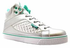 Pastry Sire Varsity Punk Girl's Aqua & Silver Quilted Hi Top Ankle Boots New