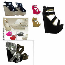 WOMENS LADIES HIGH HEEL PLATFORM STRAPPY WEDGES PEEP TOE SANDALS SHOES SIZE