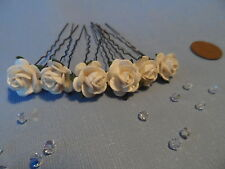 6 ROSE HAIR PINS GRIPS FLOWER WEDDING BRIDESMAID ACCESSORIES ALL COLOURS
