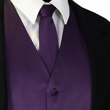 Deep Purple Solid Tuxedo Suit Vest Waistcoat and Neck tie Prom Wedding Party