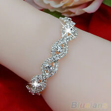 Luxury Austrian Crystal Bracelet Womens Braided Chain Rhinestone Bangle Jewelry
