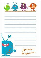 nb 16 Boys ALIENS Notelets & envelopes, personalised -  writing paper birthday