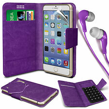 Purple Leather Suction Wallet Flip Case Cover & Earphone For Various Phones