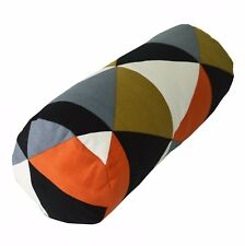 LL335g Grey Orange Olive Brown Triangle Cotton Canvas Yoga Bolster Cushion Cover