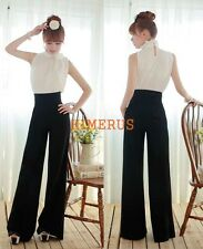 New Women Fashion Casual High Waist Flare Wide Leg Long Pants Palazzo Trousers