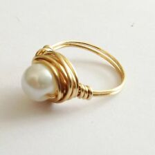 HANDMADE JEWELLERY. Gold and White Pearl Bead RING Wedding Jewellery, Gift Ideas