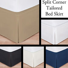 """Luxury Hotel Bed Skirt: Tailored Pleat, Queen Size, 14"""" Drop, 5 Colors Available"""