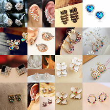 Fashion Women Pearl Crystal Rhinestone Silver Plated Ear Stud Earrings Jewellery