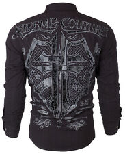 Xtreme Couture AFFLICTION Mens BUTTON DOWN Shirt CROSS SHIELD Roar UFC M-XXL $78