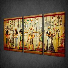EGYPTIAN PAPYRUS HIEROGLYPHS 3 PANELS CANVAS PRINT PICTURE READY TO HANG