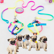 Reflective Dog Cat Pet Collar Harnesses Flat Nylon Leash Rope For Small Dogs