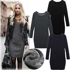 Winter Women Long Sleeve Knitted Jumper Sweater Woolen Thickening Pencil Dress