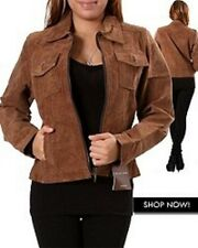 Women Brown Real Leather Plus Size Jacket w/ Zipper & Pockets NWT
