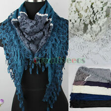 Fine Lace Stitching Warm Wool Knit Lace Trim Tassel Shawl Triangle Scarf Wrap