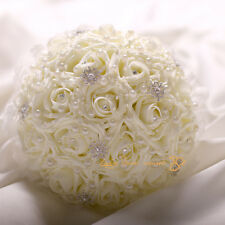 Wedding Ivory Foam Rose Bridal Bridesmaid Girls Flowers Bouquet Posy Buttonholes