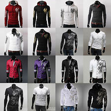 Various Men Tattoo Graphic Printed Slim Fit Hoodie Coat Sweaters Shirts T-Shirts
