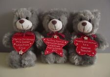 Personalised Teacher Christmas Gift Teddy Bear with Wooden Heart or Star