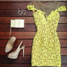 sexy yellow v neck mesh floral lace bodycon dress celebrity evening club vestido