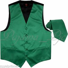 Emerald Green Solid Tuxedo Suit Vest Waistcoat and Neck tie Prom Wedding Party