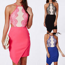 Pink Black Eyelash Lace Bellyband Evening Cocktail Club Bodycon Dress Clubwear