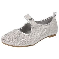Girls Spot On Silver Glitter Effect Party Shoes H2306