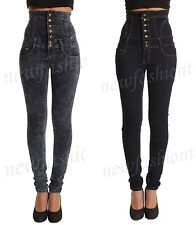 Ladies Womens High Waisted Skinny Stretchy Tie Back Corset Jeans Jeggings