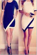 classy asymmetrical bodycon dress celebrity white black trim formal party dress