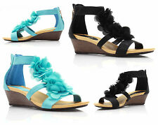 Womens Ladies Ankle Strap Casual Evening Flower Gladiator Sandals