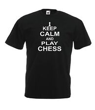 KEEP CALM PLAY CHESS game fathers christmas birthday gift top mens womens TSHIRT