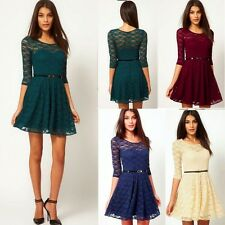 Chic Floral Lace Half Sleeve Women's Mini Dress Pleats Removable Belt Elegant
