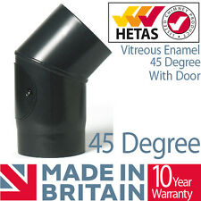 45 Degree Bend With Door Vitreous Enamelled Black Stove Flue Pipe Wood Burning