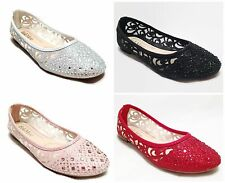 Girls Youth Rhinestone Glitter Ballet Flats Dress Shoe-Kids Flower Girl Pageant
