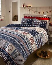 Nordic Fair Isle Blue 100% Brushed Cotton Flannelette Thermal Bedding Set