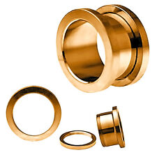 BDJ0042 Polished Screw Fit Rose Gold Anodized Surgical Steel Ear Tunnel Plugs