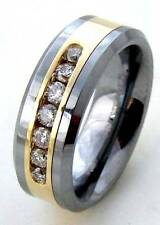 Men's Authentic 14K Pure Gold 0.50CTW Real Diamonds Tungsten Wedding Band Ring