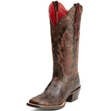 New Women's 10012803 Ariat Caballera Espresso Square Toe Leather Western Boot