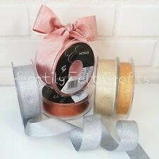 15, 25 mm Berisfords Sparkly Lame Ribbon. Silver Gold Copper. Christmas Glitter